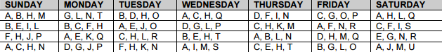 Enrichment Schedule